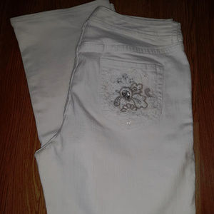 Chicos White Embellished Denim Bootcut Jeans Pants